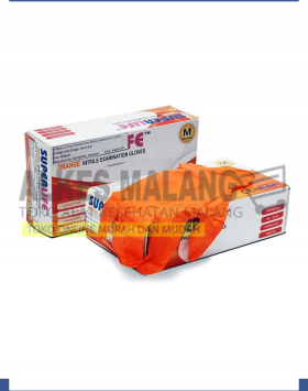 Superlife Nitrile Glove Orange box isi 100pcs - XS, S, M, L, XL alkes malang